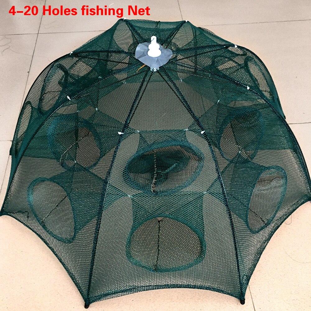 Dobrado portátil 4/6/8/10/12/16/20 furos automático pesca camarão armadilha pesca net peixe camarão minnow caranguejo iscas moldado malha armadilha