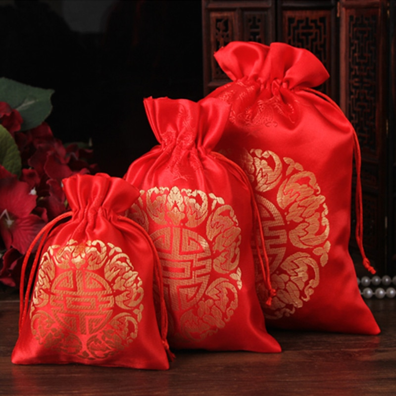Bolsas de seda rojas al por mayor de 15 unids/lote, bolsas para boda, collares, pulseras, joyas, bolsas de embalaje, bolsas de regalo