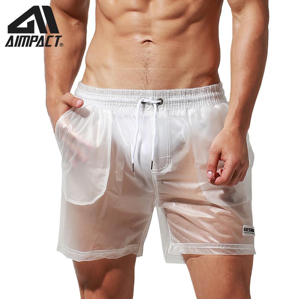 Aimpact Sexy transparente Boardshorts para hombres moda Casual viaje lluvia Hybird Shorts traje de Surf DT91