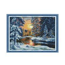 Kit de magnifique point de croix de neige   Peinture décorative de couture, en tissu fait à la main, tissu de bricolage, broderie de croix, coucher de soleil de forêt