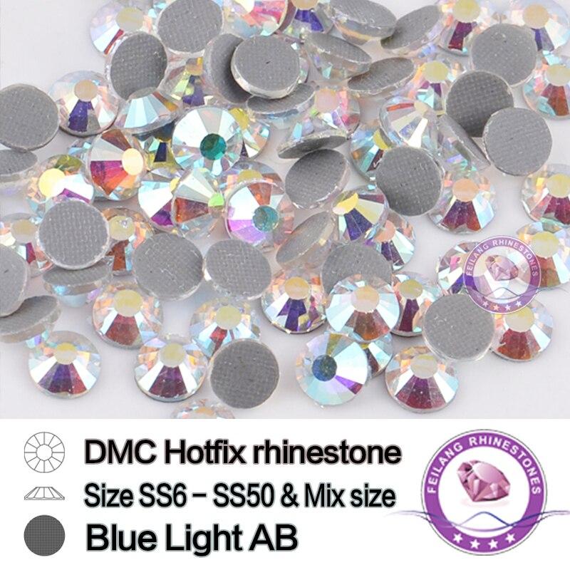 DMC Blue Light AB Crystals Hotfix Rhinestones For Clothing Accessory Flatback Strass Stone Rhinestone Iron On Wedding Dress