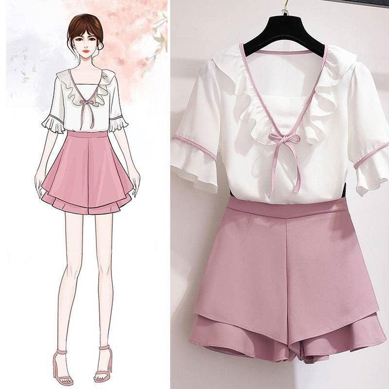 Verão feminino moda casual duas peças conjunto feminino shorts saia e blusa topos agasalho senhora chiffon do vintage ternos outfits f114