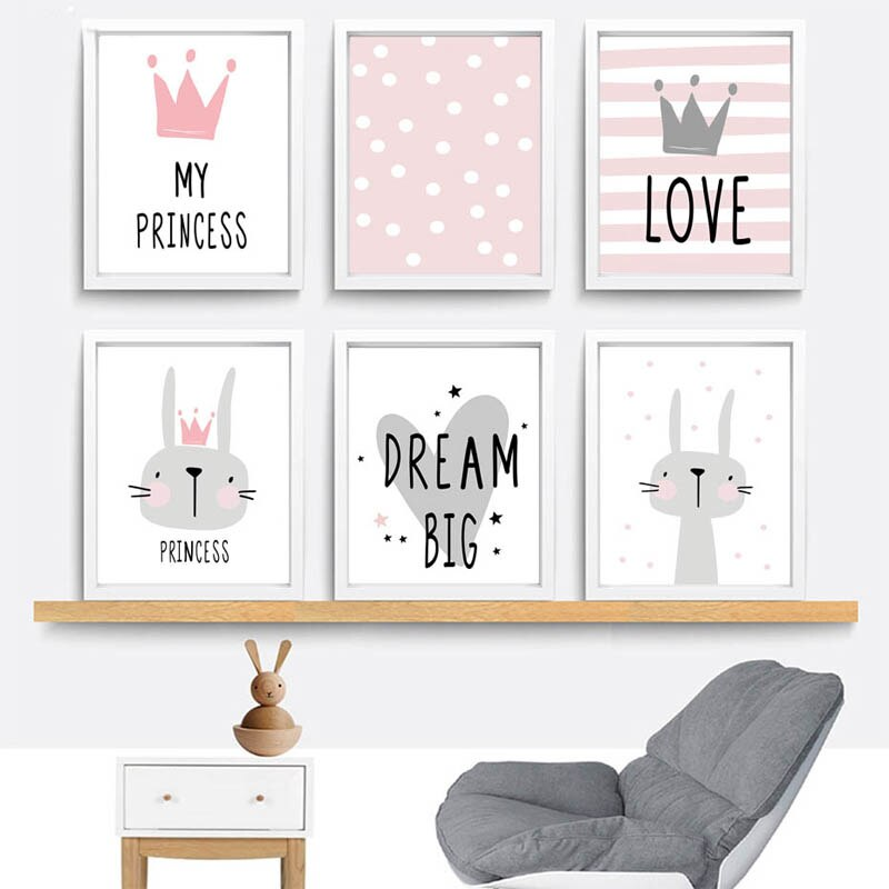 Diy pintura diamante rosa dos desenhos animados berçário menina parede imagem diamante bordado coelho pintura moderna crianças decoração do quarto dos miúdos