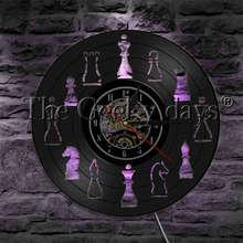 1 pièce échecs jeu stratégique conception Antique vinyle Record horloge murale avec LED Blacklight échecs pièces moderne suspendus éclairage mural