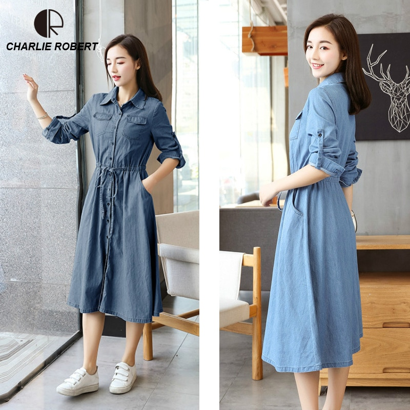 Blue & Denim Blue M-XL Slim Fit Mid-Calf Casual Sashes Women Lady Dress Three Quate Fashion 2019 New Spring & Summer Dress