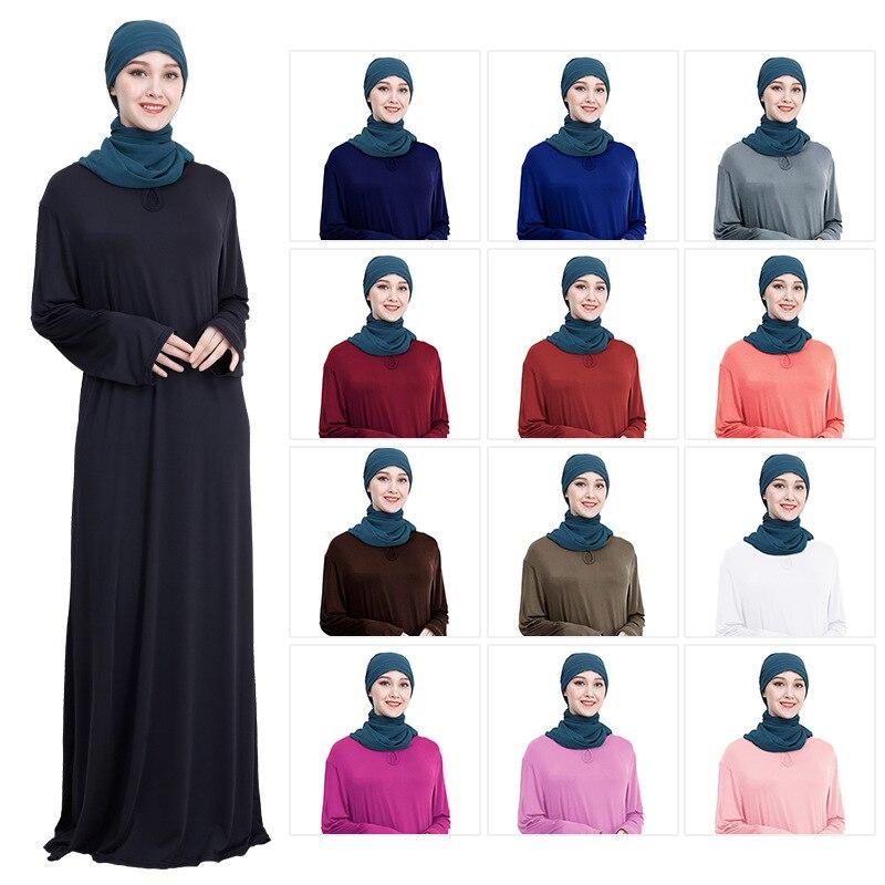 Vestido muçulmano feminino solto vermelho azul preto abaya dubai longo robe túnica quimono jubah oriente médio árabe hijab roupa islâmica