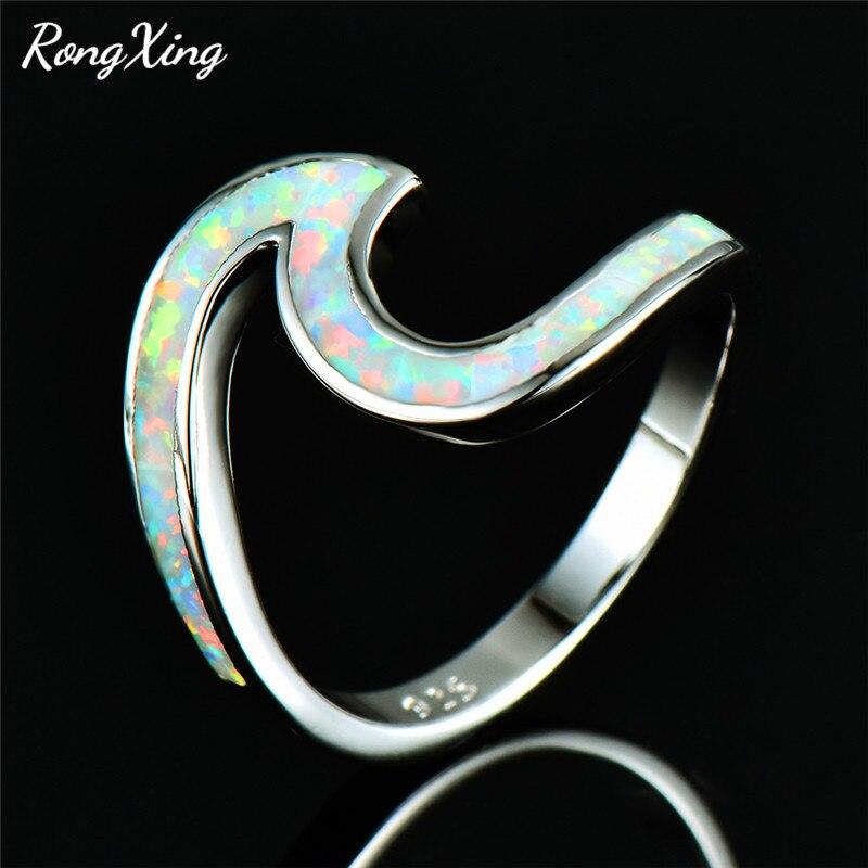 RongXing biały/niebieski/zielony/pomarańczowy/różowy ognisty Opal fala oceaniczna pierścienie dla kobiet białe złoto wypełniony pierścień z kamieniem związanym z datą urodzin plaża prezent