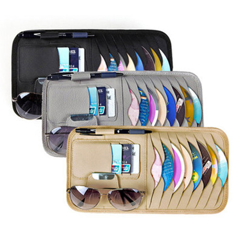 Nueva caja de CD de coche multifuncional disco CD bolsa de almacenamiento coche clip CD visera de Sol de manga de CD