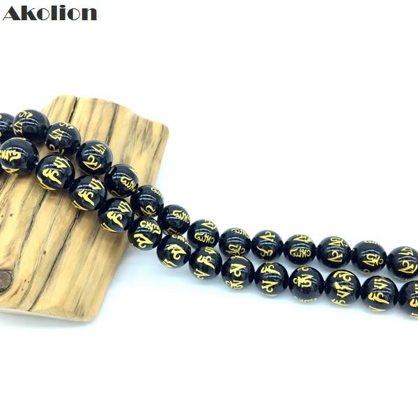 Akolion onix preto natural em ouro, preto om mani padme hum contas redondas pedra para fabricação de jóias