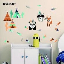Kids Cartoon Tribal Panda Fox Raccoon Wall Stickers Woodland Animal Tent Decals For Nursery Room Home Decor Funny Children Mural