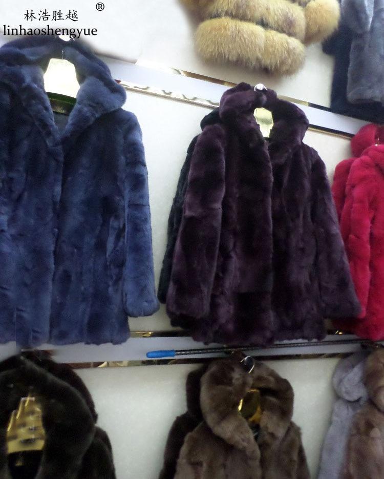 Linhaoshengyue Senior rabbit belt hat long-sleeved fur coat