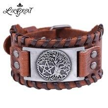 LIKGREAT arbre de vie Pentacle pentagramme Bracelet à breloques hommes en cuir Wicca accessoires Vintage Bracelets pour femme bijoux