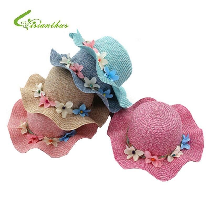 Модные соломенные шляпы для девочек, летние детские цветочные украшения, милая детская шляпа для защиты от солнца для девочек и женщин, Пляжные шапки для родителей и детей