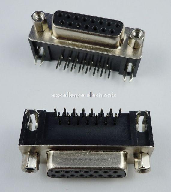 10 Pcs D-SUB Right Angle 15 Pin Female Serial Port 90 Degrees PCB Connector 2 Rows DB15F Black