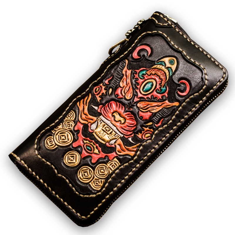 High-grade Handmade Carving Wallets Zipper Purses Men Long Clutch Vegetable Tanned Leather Wallet Card Holder