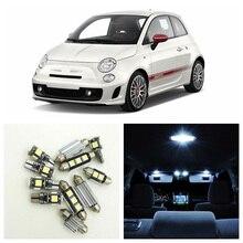 7 pièces Canbus blanc voiture lampe lumière LED ampoules intérieur paquet Kit pour 2012-2017 Fiat 500 dôme tronc plaque dimmatriculation lumière