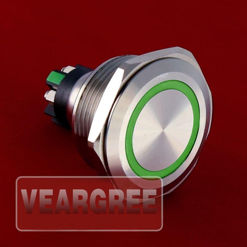 5 шт., кнопочный переключатель из нержавеющей стали с винтовым наконечником 30 мм, 6 в, 12 В, 24 В
