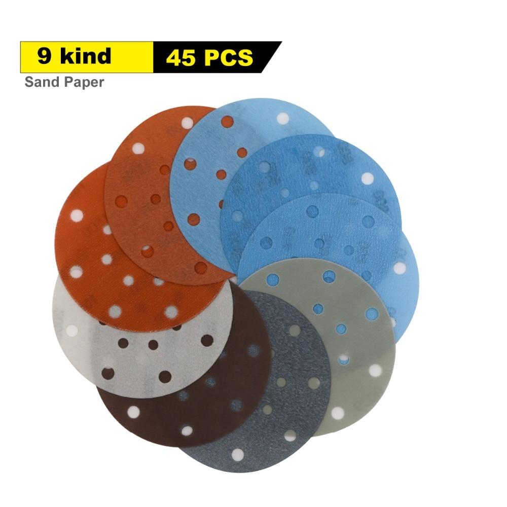 45 pièces 6 pouces 150mm 17 trous Film souple disque de ponçage papier de verre 600 à 5000 grains pour le ponçage de peinture automobile humide/sec