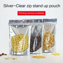 Levante-se o malote com zíper de alumínio metálico zip lock saco resealable sacos de empacotamento de alimentos para o chá doces porcas sancks cookies