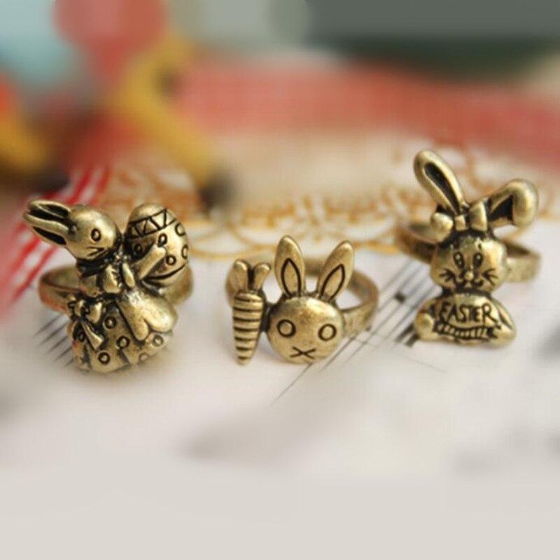 Anéis de dedo bonito do animal bonito do anel da cenoura do vintage para o presente de aniversário da jóia das crianças dos homens das mulheres