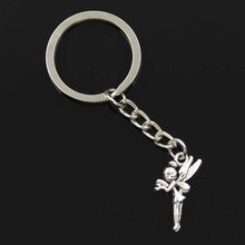 Neue Mode Männer 30mm Keychain DIY Metall Halter Kette Vintage Engel Fee Tinkerbell 25x15mm Silber Farbe anhänger Geschenk