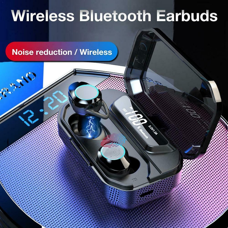 Fone de ouvido sem fio aerbos, com bluetooth 5.0, à prova d'água, bateria de 3000 mah, hifi, estéreo