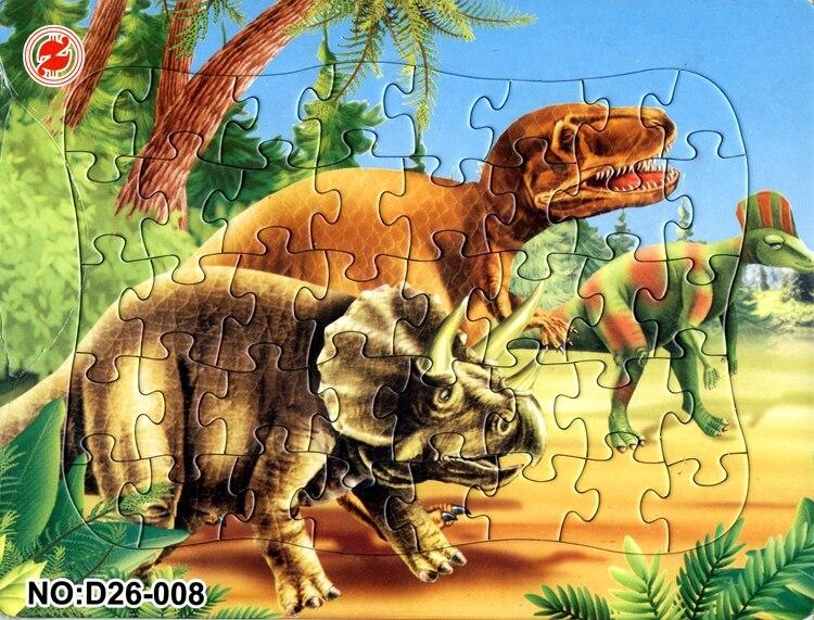 21*28CM 40 sztuk papieru dinozaury jurajskie 2D puzzle tyranozaur rogaty dinozaur zabawka puzzle