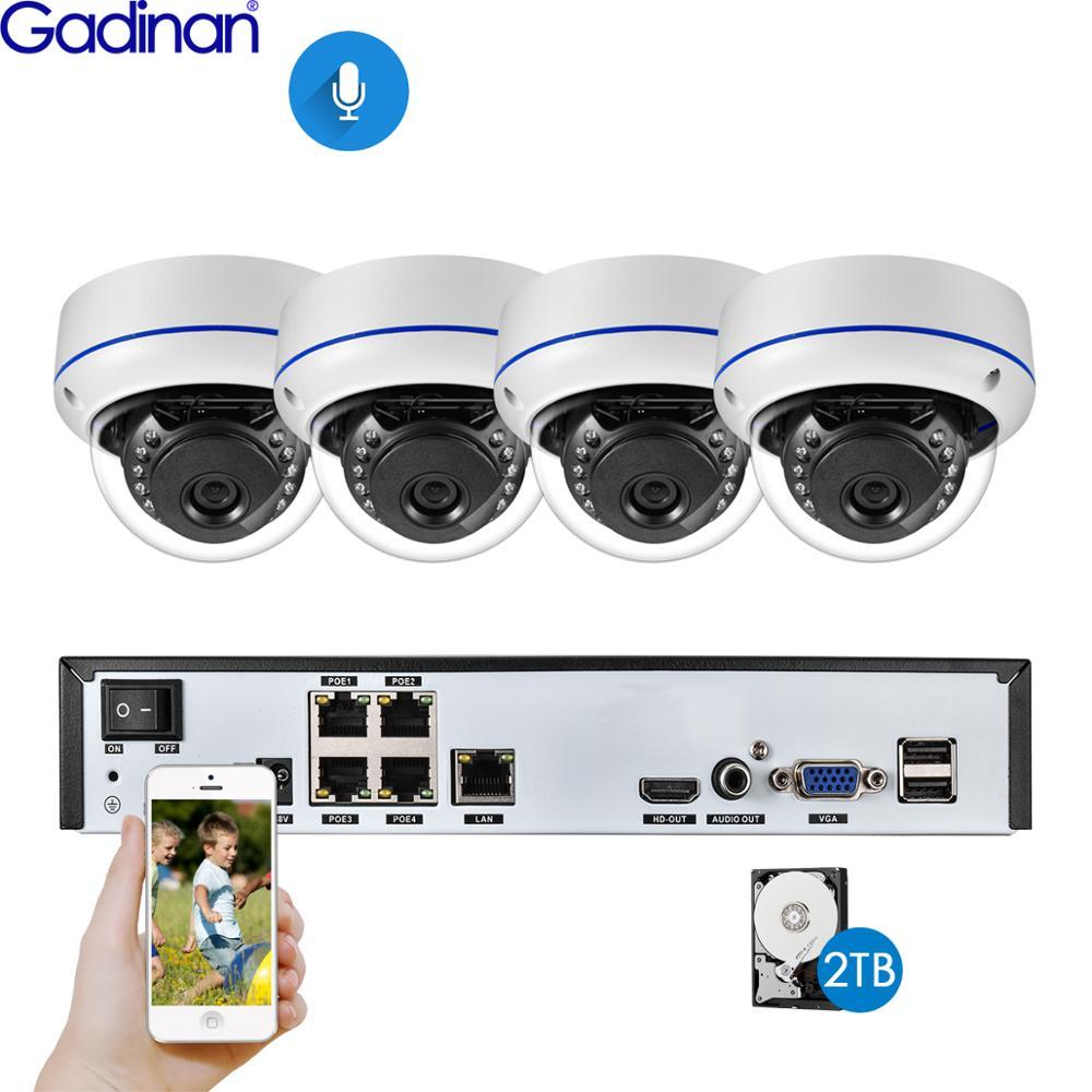 غادينان 4CH 5MP بو طقم NVR نظام الكاميرا الأمن 5MP 3MP 2MP الأشعة تحت الحمراء في الهواء الطلق CCTV قبة الصوت POE IP كاميرا مراقبة بالفيديو مجموعة