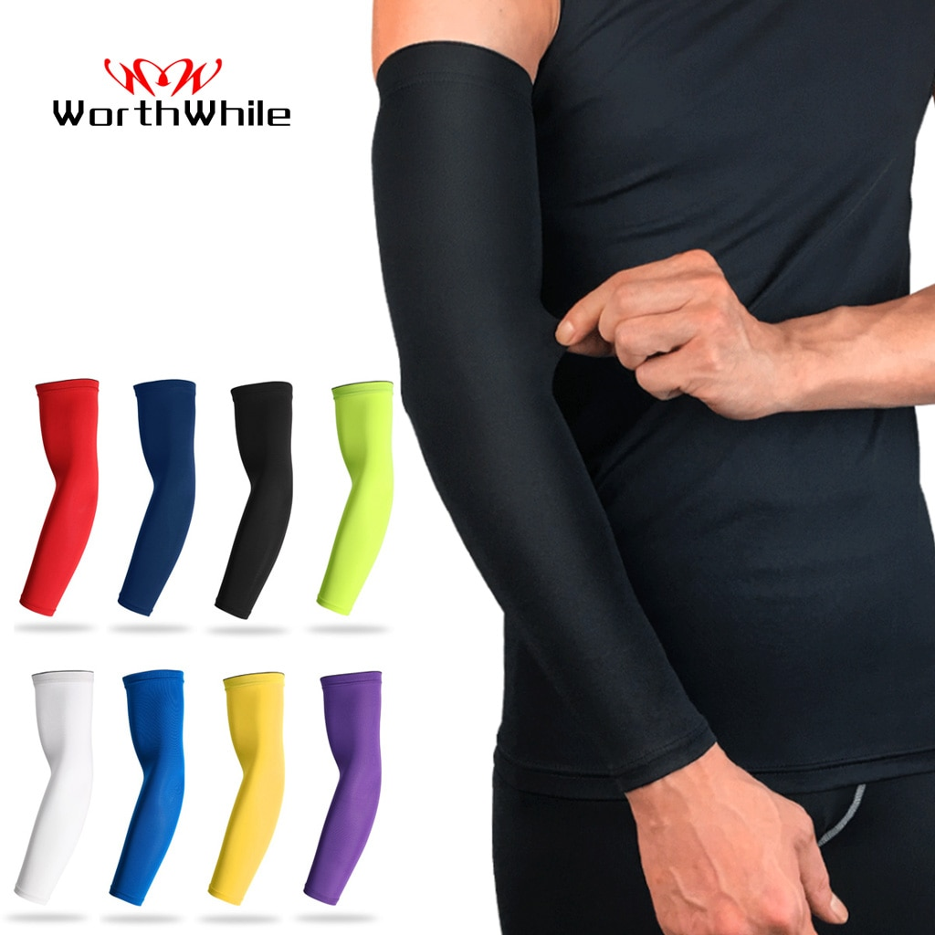 WorthWhile Sports Arm Compression Sleeve Basketball Cycling Arm Warmer Summer Running UV Protection Volleyball Sunscreen Bands