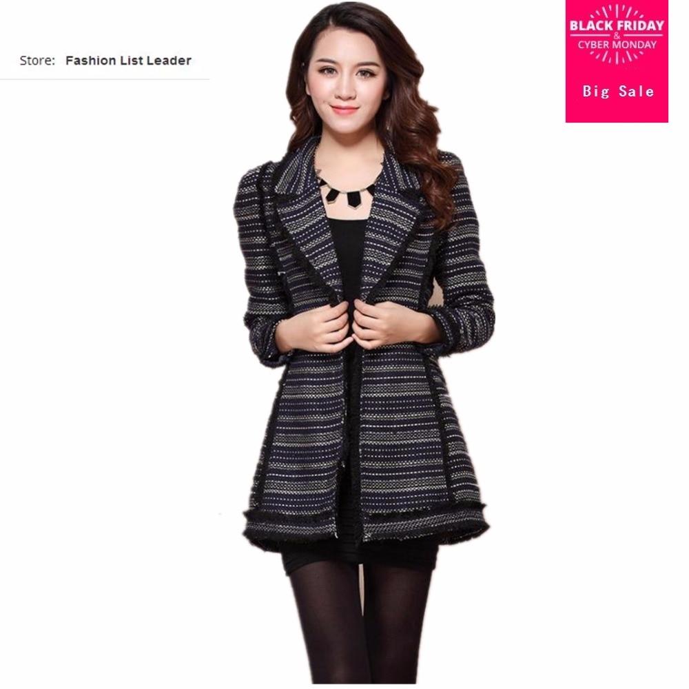 Nueva marca de moda Primavera otoño a rayas pequeño abrigo de lana fragante femenino temperamento aristocrático Chaqueta larga prendas de vestir wj1328