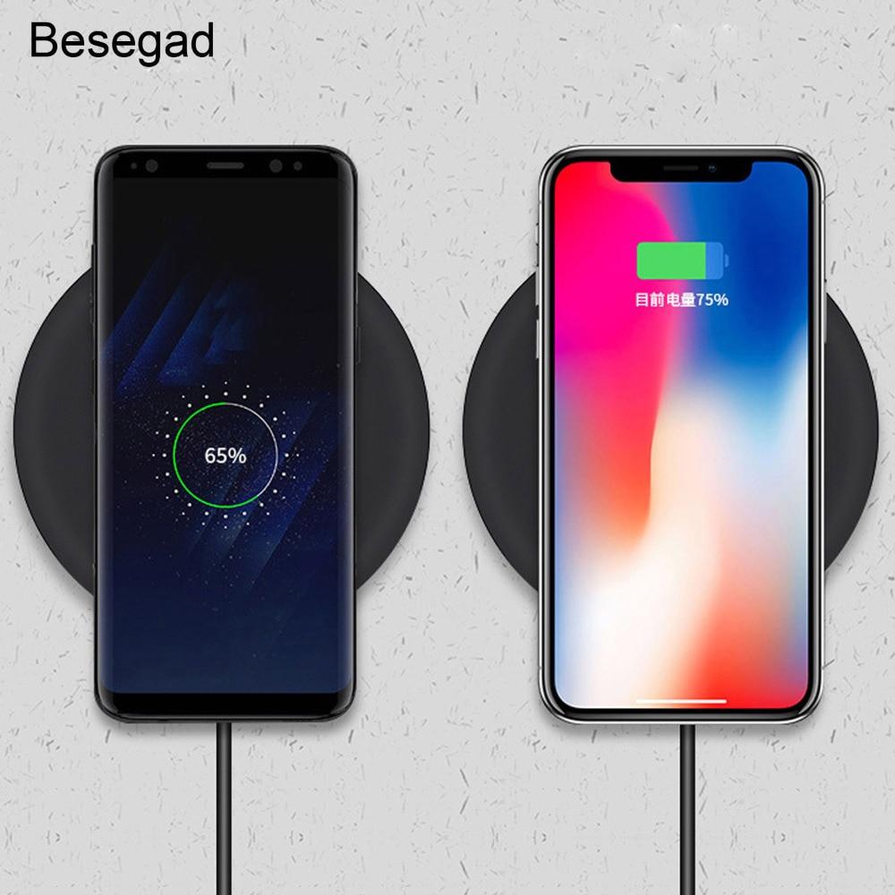 Besegad rápido qi carregador sem fio estação de carregamento suporte para iphone 8 plus x 10 samsung s6 7 8 9 nokia lumia 830 920 1020