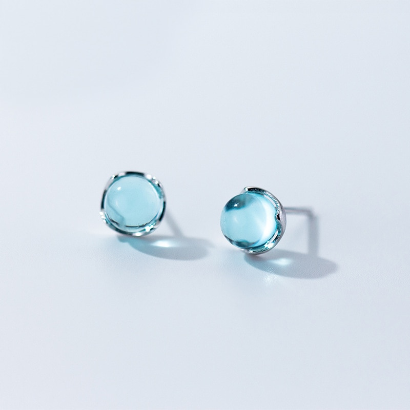 MloveAcc Real 100% 925 pendientes tipo botón de plata fina para las mujeres de moda azul de cristal con burbujas pendientes