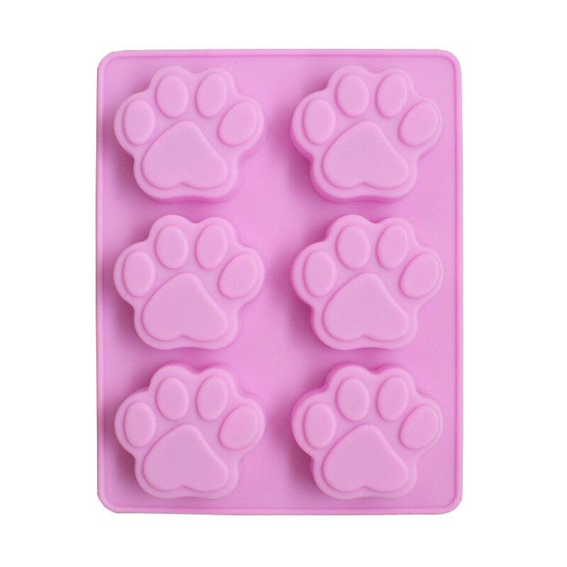 Sexto filhote de cachorro pegadas silicone bolo molde 6 gato garra artesanal sabão molde resistente frio sabão bolo molde