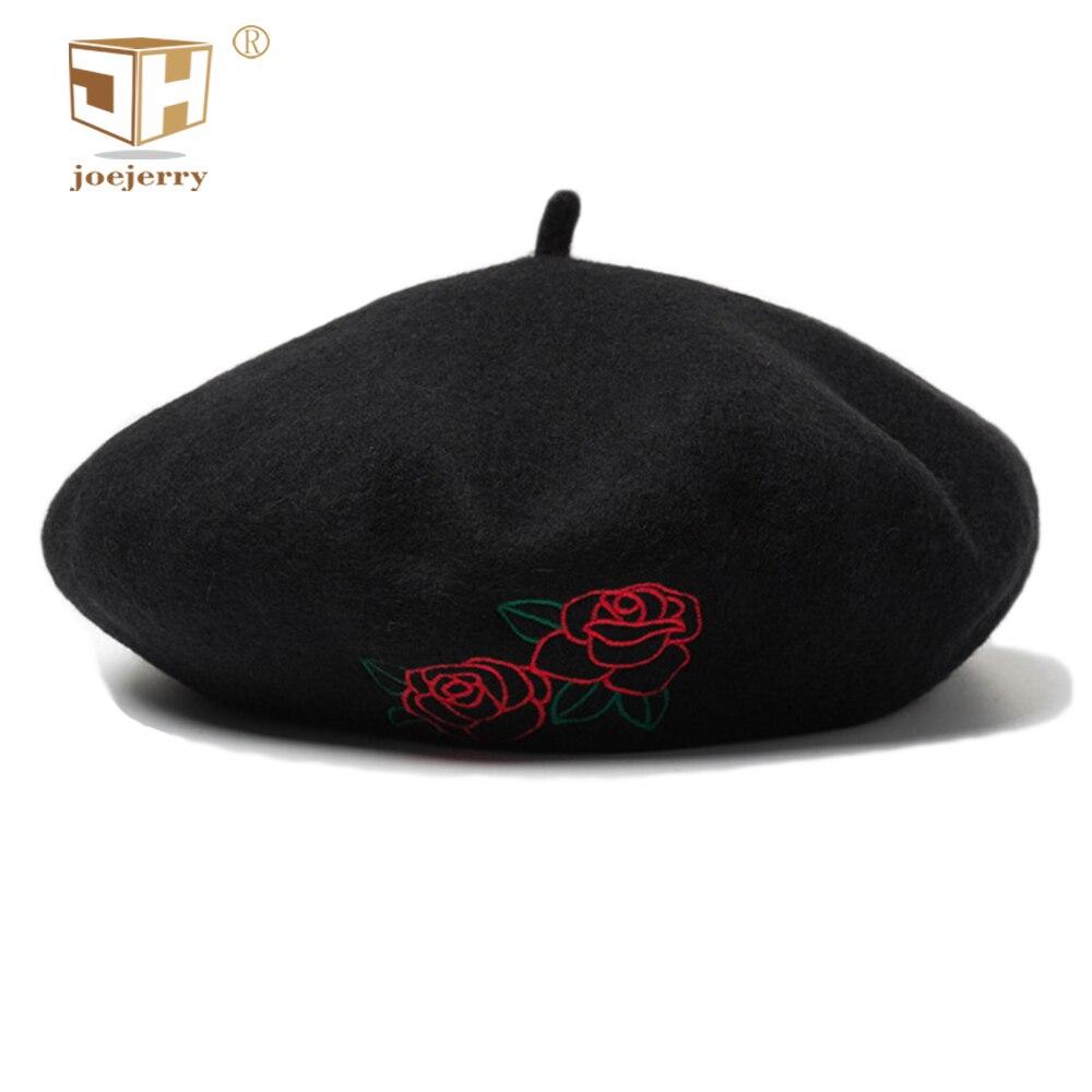 Joejerry Wolle Beret Französisch Rose Hut Stickerei Baskenmütze Schwarz Flache Kappe Frauen Elegante Hüte