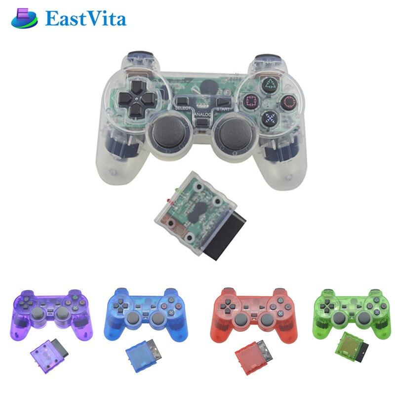 Mando de vibración EastVita Joystick Joypad transparente inalámbrico para Sony PS2 controlador para Playstation 2 consola r25