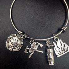 64mm vente en gros en vrac en acier inoxydable réglable fil Bracelet à breloques pompier pompier famille bijoux cadeaux pour femme maman