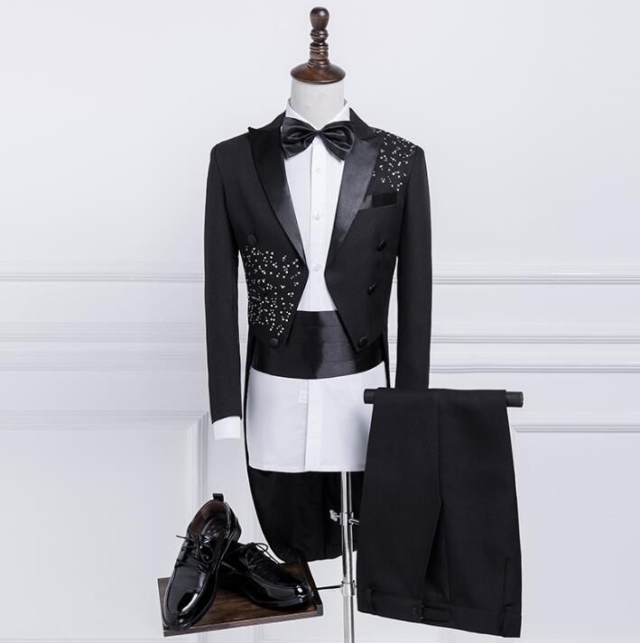 Черные свадебные костюмы для жениха, костюмы для мужчин, блейзер для смокинга, мужские костюмы для выпускного, модные облегающие мужские ко...