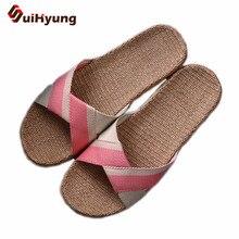 Suihyung verão chinelos de linho respirável chinelos interior mulher casual sapatos de praia antiderrapante chinelos de linho sandálias flip flops