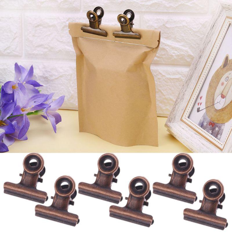 6 uds 22mm cocina clips para sellado de bolsas de acero inoxidable papel de carta Archivo de foto Clip de la Oficina de la Escuela de Cocina bolsas abrazaderas