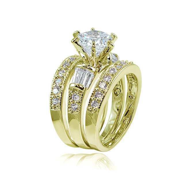 14K Gold Diamant Zirkon Ring Set für Charme Frauen Vintage Peridot Anillos De Bizuteria Engagement Edelstein Schmuck Diamante Ringe