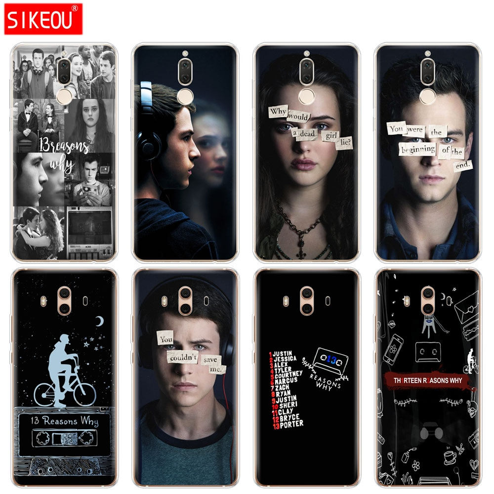 Funda de silicona para teléfono para Huawei mate 7 8 9 10 pro LITE 13 razones por las que el diseño recién llegado