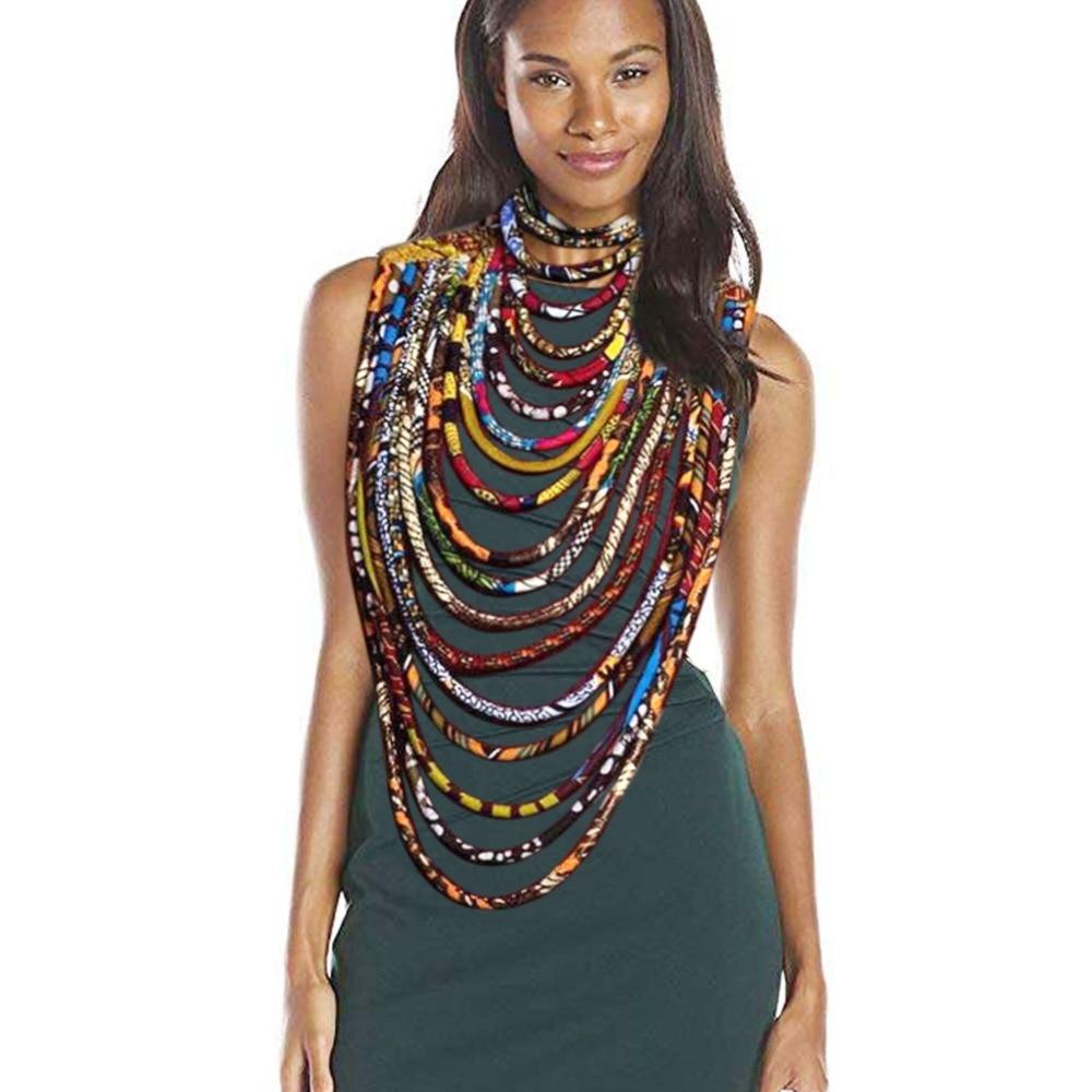 Tissu africain collier pour femmes imprimer cire enveloppé Ankara bijoux mode ethnique bijoux couche collier