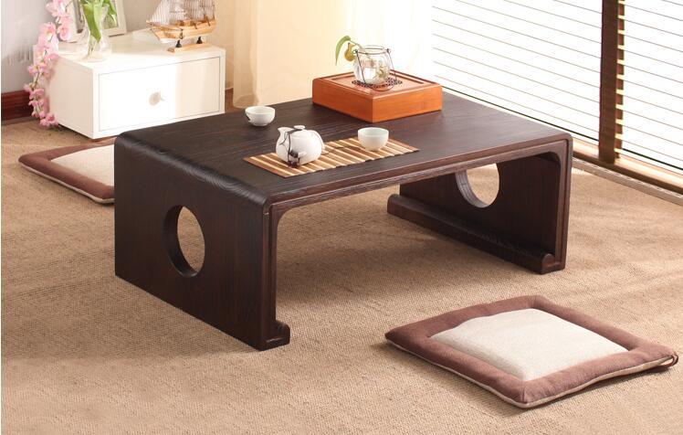Japonés antiguo mesa de consola rectángulo 80/90 cm muebles de la Sala Oriental tradicional de piso de madera de la Mesa de té portátil