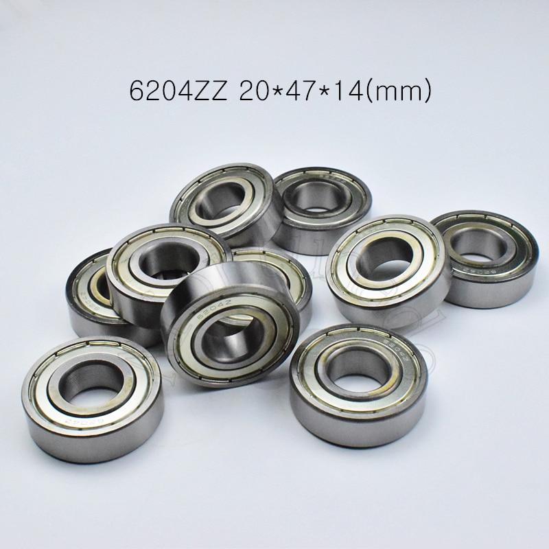 6204ZZ 20*47*14 (مم) 10 قطعة محامل ABEC-5 محامل ختم المعادن 6204 6204Z 6204ZZ الكروم الصلب