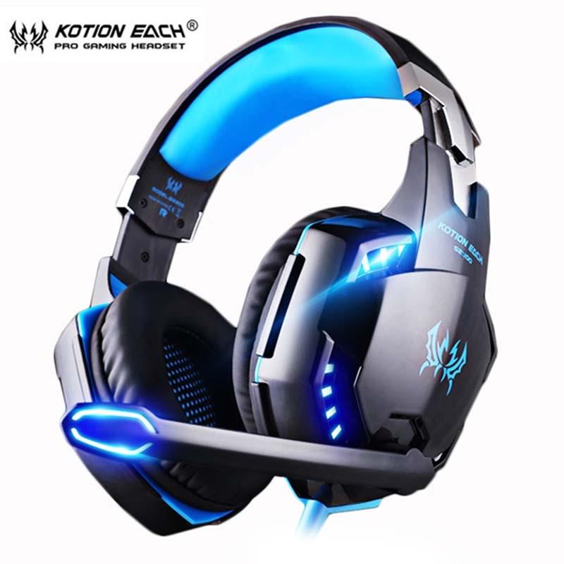سماعات رأس لألعاب الفيديو-KOTION EACH., سماعات ذات صوت ستاريو عميق ، تحتوي على ميكروفون ، للعبة بلايستاشن 4 ، و حاسوب محمول.