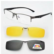 Lunettes de soleil avec Clip magnétique   Monture de lunettes et demi-boîte, myopie masculine, lentille de Prescription, lunettes de soleil polarisées, lunettes de soleil à jambes douces