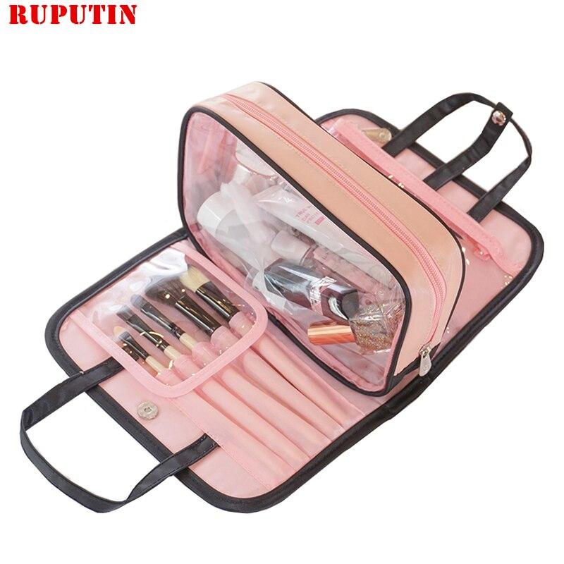RUPUTIN, bolsa de almacenamiento de cosméticos sólida extraíble para mujeres, estuche de maquillaje cosmético impermeable para viaje, estuche para maquillaje de alta calidad, bolsas