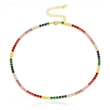 sexy short sparking rainbow tennis chain chocker necklace with AAA+ CZ fashion personality women col