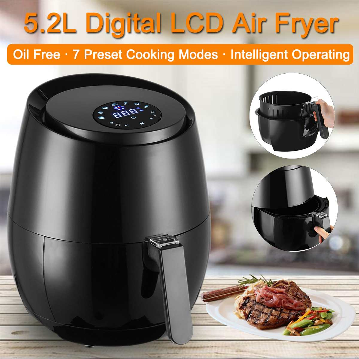 1400W 5.2L Multifunction Air Fryer Chicken Oil free Air Fryer Health Fryer Pizza Cooker Smart Touch LCD Electric Deep Airfryer