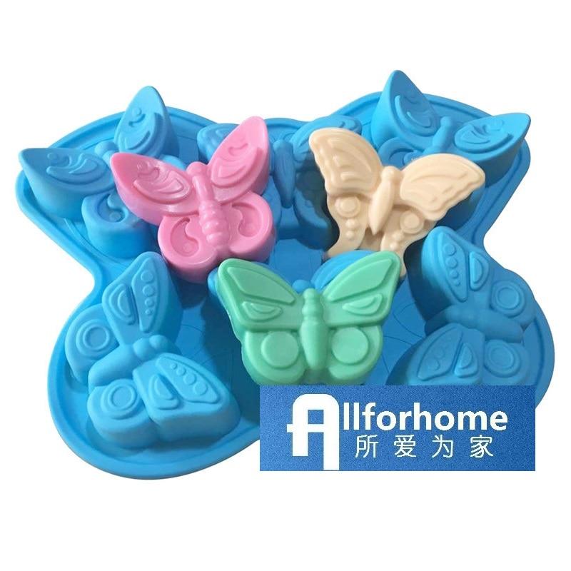 6 agujeros 3D insectos mariposa silicona pastel molde para hornear pastel Pan Muffin tazas molde de jabón para magdalenas Chocolate helado DIY molde